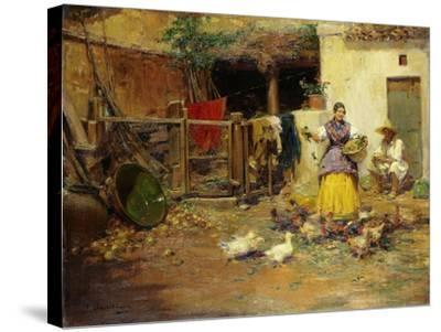 Feeding the Chickens-Benlliure y Gil Jose-Stretched Canvas Print