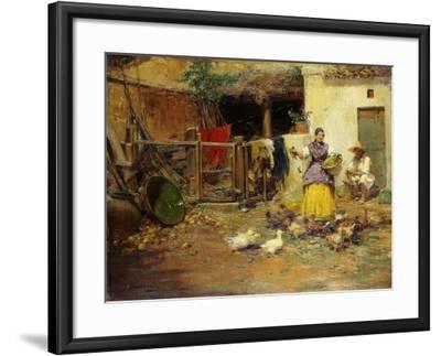 Feeding the Chickens-Benlliure y Gil Jose-Framed Giclee Print