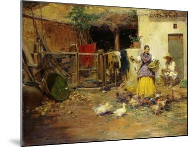 Feeding the Chickens-Benlliure y Gil Jose-Mounted Giclee Print