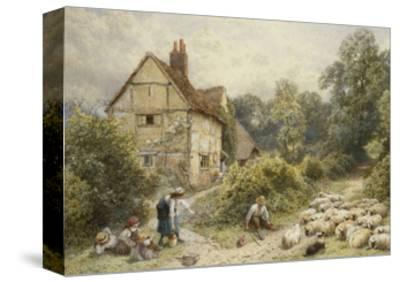 Fowl House Farm, Witley, with Children, a Shepherd and a Flock of Sheep Nearby-Myles Birket Foster-Stretched Canvas Print