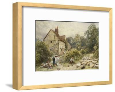 Fowl House Farm, Witley, with Children, a Shepherd and a Flock of Sheep Nearby-Myles Birket Foster-Framed Giclee Print