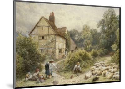 Fowl House Farm, Witley, with Children, a Shepherd and a Flock of Sheep Nearby-Myles Birket Foster-Mounted Giclee Print