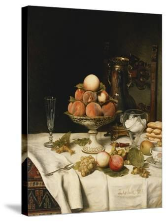 Peaches in a Dresden Tazza, Grapes, Apples, Hazelnuts and Biscuits on a Draped Table-Jules		 Larcher-Stretched Canvas Print