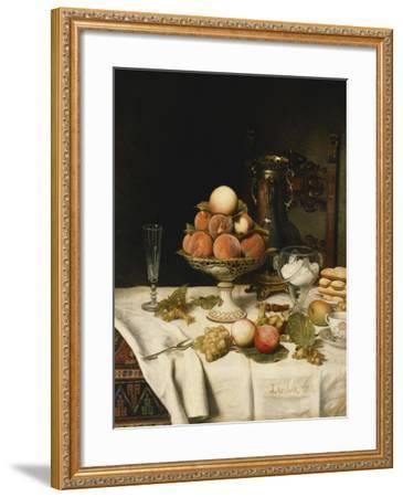 Peaches in a Dresden Tazza, Grapes, Apples, Hazelnuts and Biscuits on a Draped Table-Jules		 Larcher-Framed Giclee Print