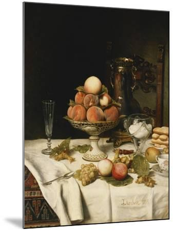 Peaches in a Dresden Tazza, Grapes, Apples, Hazelnuts and Biscuits on a Draped Table-Jules		 Larcher-Mounted Giclee Print