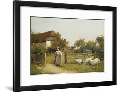 Young Girl with Sheep, by a Cottage-Benjamin D. Sigmund-Framed Giclee Print