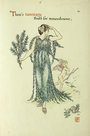 Flowers from Shakespeare's Garden: Rosemary-Walter Crane-Stretched Canvas Print