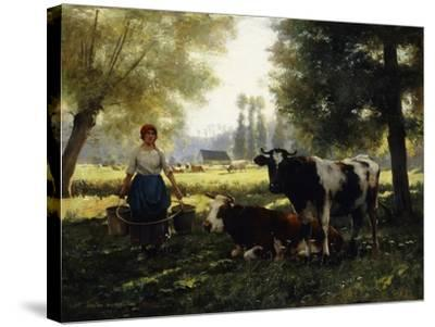 A Milkmaid with her Cows on a Summer Day-Julien Dupre-Stretched Canvas Print