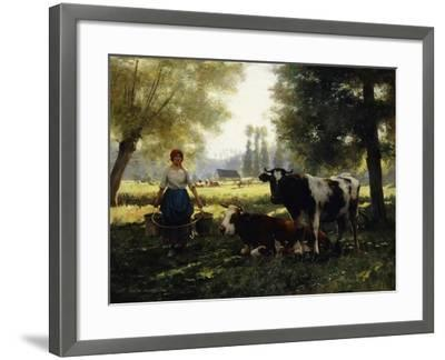 A Milkmaid with her Cows on a Summer Day-Julien Dupre-Framed Giclee Print
