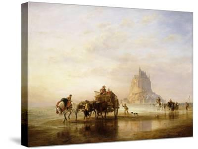Mont St. Michel, Peasants returning to Pontorson on the approach of the Tide-Edward William		 Cooke-Stretched Canvas Print