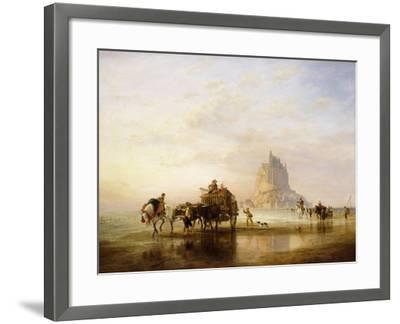 Mont St. Michel, Peasants returning to Pontorson on the approach of the Tide-Edward William		 Cooke-Framed Giclee Print