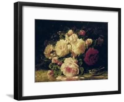 Roses with a Blue Tit by a Stream-Jean Baptiste Claude Robie-Framed Giclee Print
