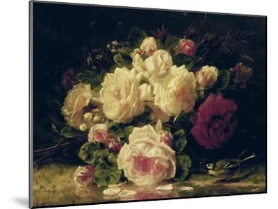 Roses with a Blue Tit by a Stream-Jean Baptiste Claude Robie-Mounted Giclee Print