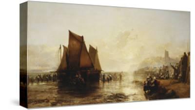 Fisherfolk Landing their Catch on Folkestone Beach-James Webb-Stretched Canvas Print