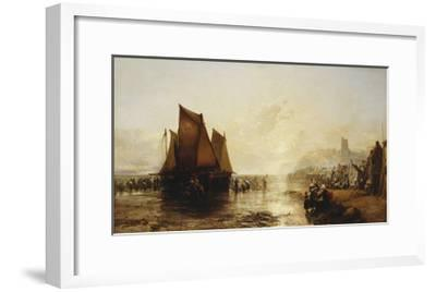 Fisherfolk Landing their Catch on Folkestone Beach-James Webb-Framed Giclee Print