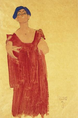 Woman with Blue Hair-Egon Schiele-Stretched Canvas Print