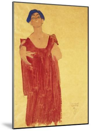Woman with Blue Hair-Egon Schiele-Mounted Giclee Print