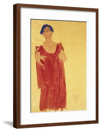 Woman with Blue Hair-Egon Schiele-Framed Giclee Print