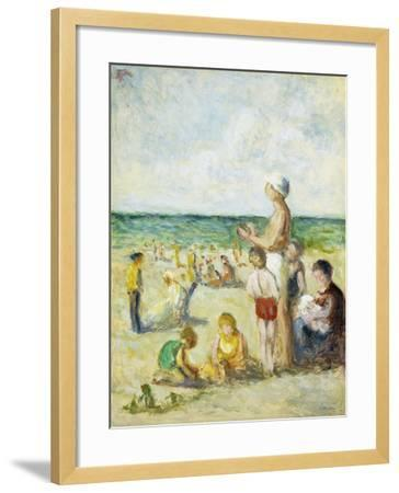 On the Beach in Normandy-Maximilien Luce-Framed Giclee Print