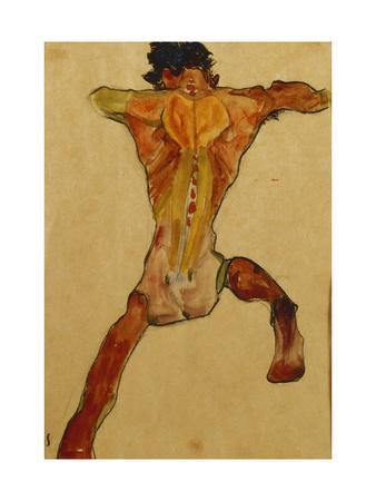 Male Nude seen from Back-Egon Schiele-Premium Giclee Print