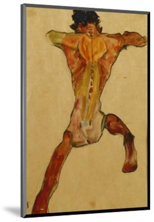 Male Nude seen from Back-Egon Schiele-Mounted Premium Giclee Print
