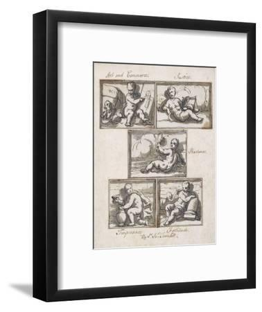 Art and Commerce; Justice; Prudence; Temperance; and Fortitude-Sir James Thornhill-Framed Giclee Print