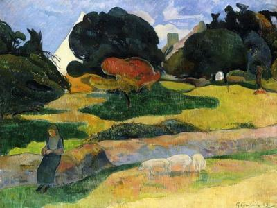 The Pig Field-Paul Gauguin-Framed Giclee Print