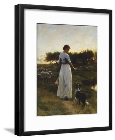 A Shepherdess with her Dog and Flock in a Moonlit Meadow-George Faulkener Wetherbee-Framed Giclee Print