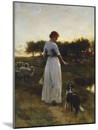 A Shepherdess with her Dog and Flock in a Moonlit Meadow-George Faulkener Wetherbee-Mounted Giclee Print
