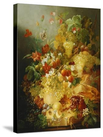 Peaches, Melons and Grapes with Sweet Peas and Poppies on a Stone Ledge-Jan Waarden-Stretched Canvas Print