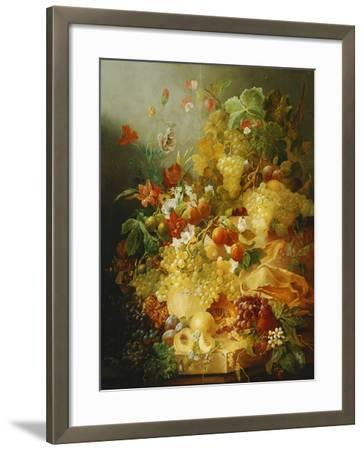 Peaches, Melons and Grapes with Sweet Peas and Poppies on a Stone Ledge-Jan Waarden-Framed Giclee Print