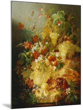 Peaches, Melons and Grapes with Sweet Peas and Poppies on a Stone Ledge-Jan Waarden-Mounted Giclee Print