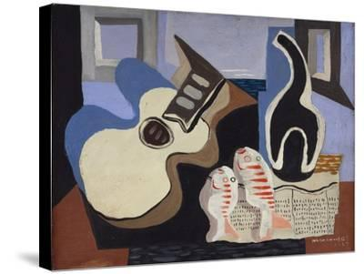 Blue Still Life with Bottle-Louis Marcoussis-Stretched Canvas Print