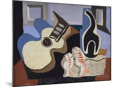 Blue Still Life with Bottle-Louis Marcoussis-Mounted Giclee Print