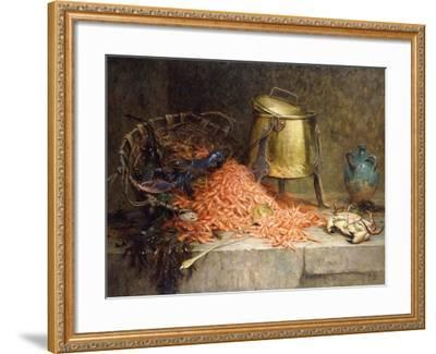 A Lobster, Shrimps and a Crab by an Urn on a Stone Ledge-Magne Desire-Alfred-Framed Giclee Print