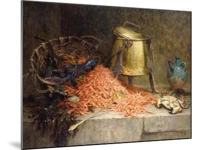 A Lobster, Shrimps and a Crab by an Urn on a Stone Ledge-Magne Desire-Alfred-Mounted Giclee Print