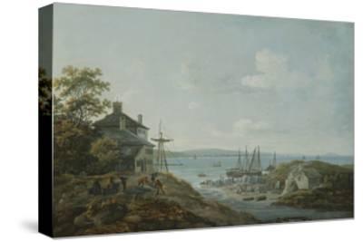 Loading Slate at Bangor Ferry-John Laporte-Stretched Canvas Print