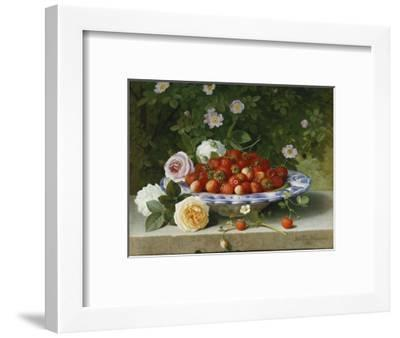 Strawberries in a Blue and White Buckelteller with Roses and Sweet Briar on a Ledge-William		 Hammer-Framed Premium Giclee Print