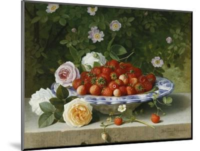 Strawberries in a Blue and White Buckelteller with Roses and Sweet Briar on a Ledge-William		 Hammer-Mounted Premium Giclee Print