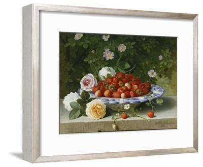 Strawberries in a Blue and White Buckelteller with Roses and Sweet Briar on a Ledge-William		 Hammer-Framed Giclee Print