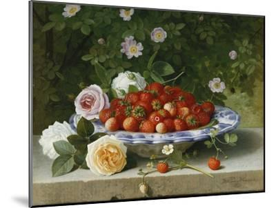 Strawberries in a Blue and White Buckelteller with Roses and Sweet Briar on a Ledge-William		 Hammer-Mounted Giclee Print
