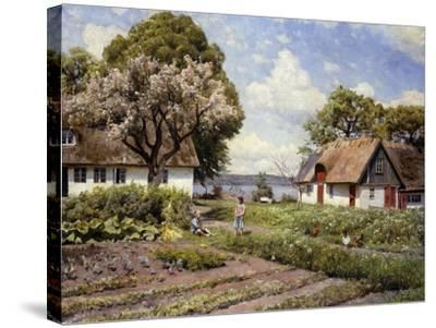 Children in a Farmyard-Peder Mork Monsted-Stretched Canvas Print