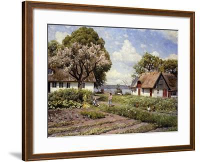Children in a Farmyard-Peder Mork Monsted-Framed Giclee Print