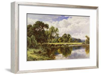 A Wooded River Landscape with Cattle-Henry H.		 Parker-Framed Giclee Print