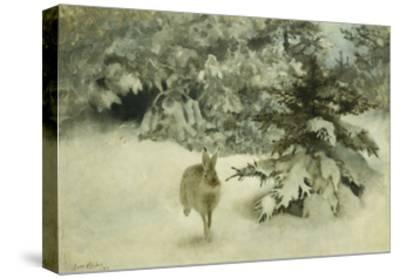 A Hare in the Snow-Bruno Liljefors-Stretched Canvas Print