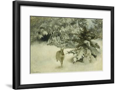A Hare in the Snow-Bruno Liljefors-Framed Giclee Print