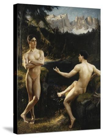 Male Nudes by a River in an Alpine Landscape-Hofer Gottfried		-Stretched Canvas Print