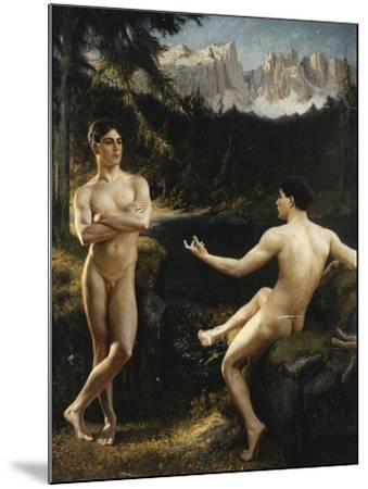 Male Nudes by a River in an Alpine Landscape-Hofer Gottfried		-Mounted Giclee Print