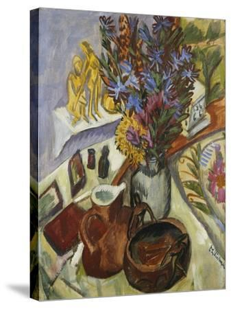 Still Life with Jug and African Bowl-Ernst Ludwig Kirchner-Stretched Canvas Print