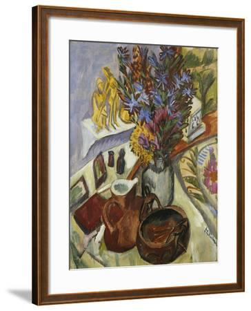 Still Life with Jug and African Bowl-Ernst Ludwig Kirchner-Framed Giclee Print